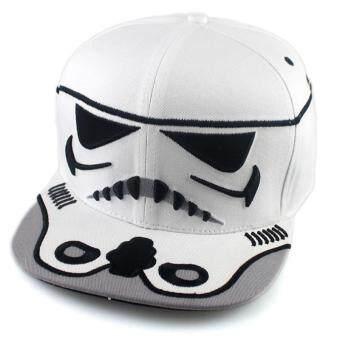แนวโน้มแฟชั่นบุรุษสตรีหมวกเบสบอล Snapback ปีกหมวกฮิปฮอป (ขาว)