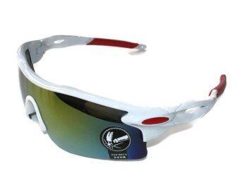 แว่นตาจักรยาน กันแดด UV400 (สีขาว-แดง/เลนส์ปรอท)