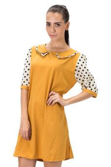 All about Fashionista เดรสสั้น ผ้าไหมอิตาลีต่อแขนลายจุด - สีเหลือง