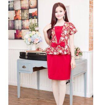 Pitchaya ชุดเดรสตัวเสื้อแคนวาสลายดอกกุหลาบ ชายระบายติดโบว์ de402(สีแดง)