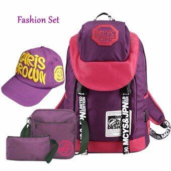 Peimm Modello Value Set Colorful Korean Backpack MCYS 4 ชิ้น กระเป๋าเป้สะพายหลัง กันน้ำ+กระเป๋าสะพายพาดลำตัว + กระเป๋าเครื่องสำอาง + หมวก เป้ท่องเที่ยว เป้ใส่โน๊ตบุ๊ค เป้กันน้ำ สไตส์เกาหลี