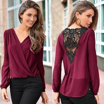 Gracefulvara ผู้หญิงเซ็กซี่แฟชั่นคอวีเสื้อเชิ้ตเสื้อยืดเสื้อลำลองเสื้อแขนเสื้อยาวหลวมเสื้อยืด (ไวน์แดง)