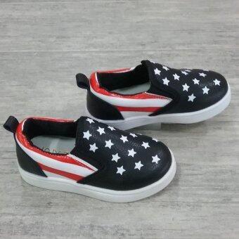 Alice Shoe รองเท้าเด็ก รองเท้าแฟชั่นแบบสวม เด็กผู้หญิง&เด็กผู้ชาย รุ่น CV012-BK ( สีดำ)