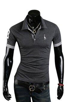 Sanwood โปโลผู้ชายแขนสั้นฤดูร้อนทรงเพรียวเสื้อยืดสีเทา L