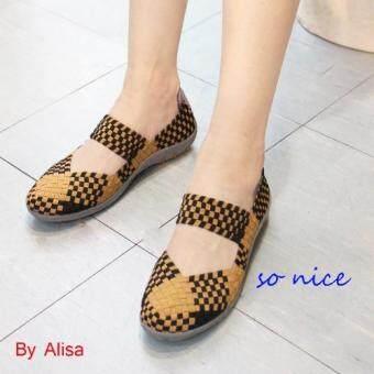 Alisa Shoes รองเท้าผ้าใบสปอร์ตแฟชั่นComfort รุ่น F700-2 Beige Black