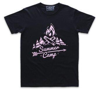 ATLAST เสื้อยืดคอกลม ลาย Summer Camp สีดำ