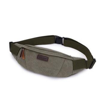BEST HS กระเป๋าสะพายไหล่ คาดอก คาดเอว ผ้า CANVAS รุ่น HSMB0005-Army Green