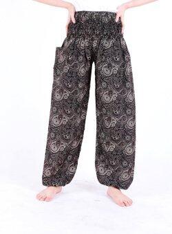 sara กางกาง เอวยืด เนื้อผ้าบาง ใส่สบาย ลาย สีดำ free size