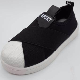 Alice Shoe รองเท้าเด็ก รองเท้าผ้าใบแฟชั่นแบบสวม เด็กผู้หญิง&เด็กผู้ชาย รุ่น CVS052-BK (สีดำ)