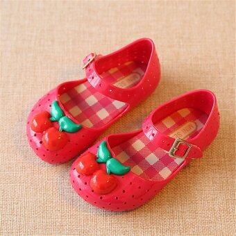 I80 แฟชั่นรัดเท้าลูกสาวร้อนใส่รองเท้ารองเท้าแตะลูกสาวเชอร์รี่ลูกเยลลี่สี