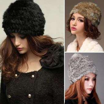 Happycat ใหม่ฤดูใบไม้ร่วง และฤดูหนาวสวมหมวกขนสัตว์หมวกไหมพรมน่ารักเครื่องประดับ (สีดำ) (ขนาดเดียว)-ระหว่างประเทศ