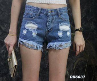 Platinum Fashion กางเกงยีนส์ขาสั้นเอวสูง แต่งขาด รุ่นDD6637