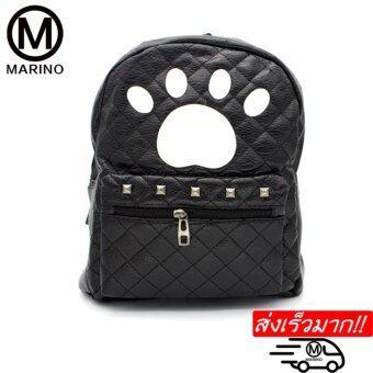 Marino กระเป๋ากระเป๋าเป้สะพายหลังสีดำ กระเป๋าหนัง PU No.0229 - Black