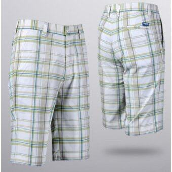 EXCEED กางเกงกอล์ฟขาสั้น KUZ010 #11 สีขาวเส้นเขียวฟ้า PGM Men's Golf Short Gentleman Plaid Quick Dry Sport Trousers Summer Breathable Short XXS-3XL WHITE-GREEN COLOUR