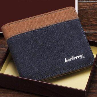Matteo กระเป๋าสตางค์แคนวาส กระเป๋าเงิน Baellerry Horizontal ( สีน้ำเงิน )