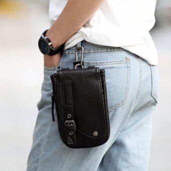 Osaka กระเป๋าสะพายผู้ชาย หรือห้อยหูกางเกง แบบหนัง PU รุ่น NG200 - สีดำ