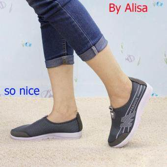 Alisa Shoes รองเท้าผ้าใบแฟชั่น รุ่น 99Q046 Grey