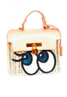 PENNY & THE RICCI กระเป๋าสานปักเลื่อม ลายตาหวาน (Pink)