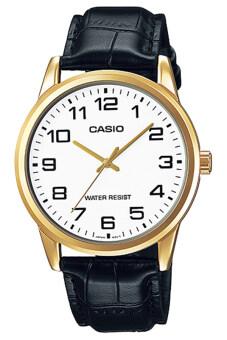 Casio Standard นาฬิกาข้อมือผู้ชาย White/Black สายหนัง รุ่น MTP-V001GL-7BUDF