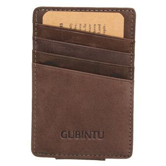 กระเป๋าสตางค์หนังแท้บางคนเงินน้อยถือบัตรบัตรเครดิตกระเป๋าหน้ากาแฟ