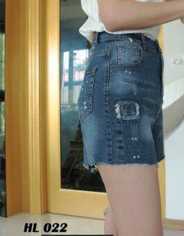 Platinum Fashion กางเกงยีนส์ขาสั้น เอวสูง ทรงสวย รุ่นHL022