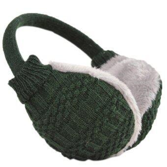 เพศชายหญิงทอผ้าอุ่นฤดูหนาวที่ปิดหูกันหนาวร้อนถ้อยคำ Earlap ครอบหูสีเขียวเข้ม