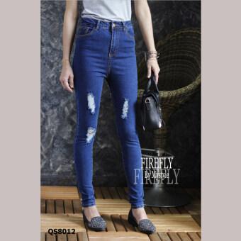 FIREFLY กางเกงยีนส์ขายาว เอวสูง แต่งขาด รุ่น QS8012