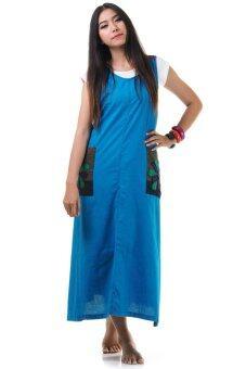 Princess of Asia ชุดเดรสยาวผูกเอว เดรสผ้าฝ้ายปะดอกไม้ (สีฟ้า)