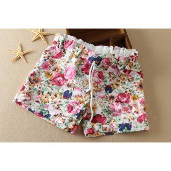 กางเกงขาสั้นพิมพ์ลายดอกไม้ (สีชมพู-เชือกผูก)