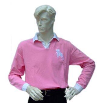 Poloace เสื้อโปโลแขนยาว เสื้อตีกอล์ฟสุภาพบุรุษ Polo Shirt PPM10700152 Pink