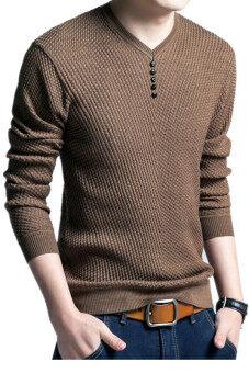 ผ้าขนสัตว์สีทึบแบบสวมชายเสื้อถักคอวีเสื้อลำลอง (สีน้ำตาล)