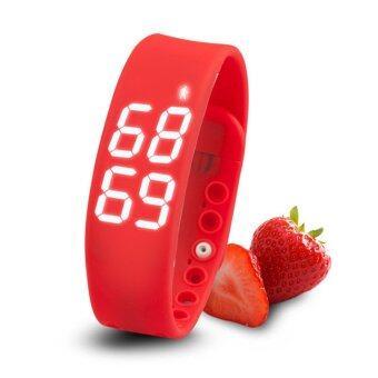 Smartwatches นาฬิกาข้อมือนับแคลอรี่ นับจำนวนก้าวเดิน วัดอุณภูมิและการนอนหลับ (สีแดง)