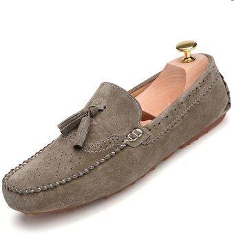 PINSV หนังรองเท้าลำลองมีพู่ชายแฟลต Loafers สลิปออน (กากี)