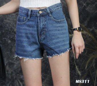 Platinum Fashion กางเกงยีนส์ขาสั้นเอวสูง แต่งขาดลุ่ยๆปลายเล็กน้อย รุ่นMS311
