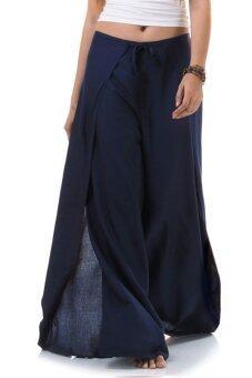 Princess of Asia กางเกงผ่าข้าง กางเกงแบบผูก กางเกงพัน (สีกรมท่า)