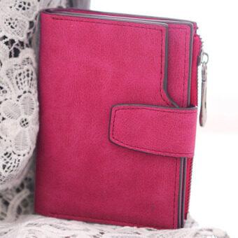 ลาวีขัดหนังสตรีกระเป๋าสตางค์เหรียญเงินที่เก็บบัตรการออกแบบ (กุหลาบสีแดง)