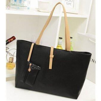 Korea fashion แฟชั่น กระเป๋า รุ่น Black basic 3 (สีดำ) black