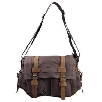 Augur 2138คนนำกระเป๋าสะพายหนังผ้าใบวินเทจ (กาแฟ)