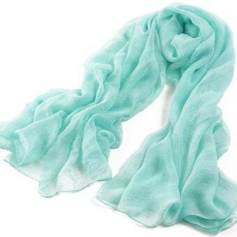 Harga Summer Women Fashion Solid Lengthened Large Chiffon Scarves Air Conditioning Beach Towel Shawl(Light Blue) - intl