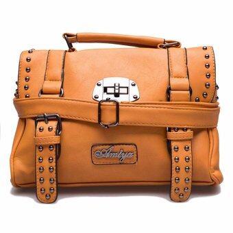 กระเป๋าถือ กระเป๋าสะพาย ผู้หญิง รหัส.6593-1 (สีเหลือง/ดำ)