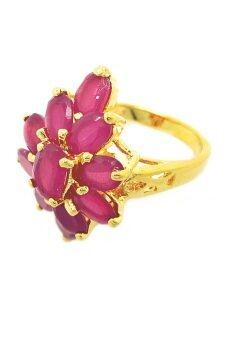 TanGems แหวนดอกไม้ประดับพลอยรูปไข่สีทับทิม รุ่น 916 - Gold/Ruby
