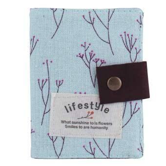 Leegoal ภาพดอกไม้กระเป๋าถือบัตรเครดิตเคสที่มี 20 ช่องบัตร ฟ้าอ่อน