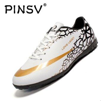 Harga PINSV Men's Outdoor Soccer Shoes Turf Indoor Soccer Futsal Shoes (White) - intl