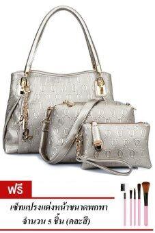 RichCoco SET กระเป๋าแฟชั่นเกาหลี + กระเป๋าถือผู้หญิง + กระเป๋าสะพายข้าง + เซ็ต 3 ใบ (สีเทา)