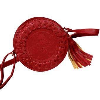 ลาวีพู่กลมไหล่ตัดกระเป๋าสานร่างกาย (สีแดง)