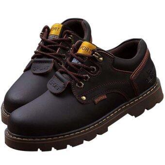 ชายเสื้อทำเป็นรองเท้ารองเท้าออกซฟอร์ดแต่งตัวรองเท้าคุณภาพคนแบน (สีน้ำตาล)