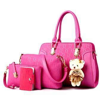 Bag กระเป๋าสะพายข้างสภาพสตรี เซ็ด 4 ใบ รุ่น new fashion 2017 (สีชมพู)