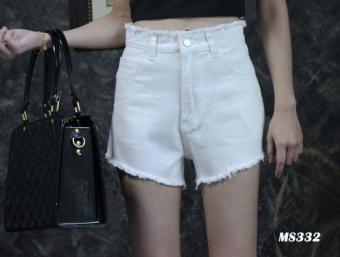 Platinum Fashion กางเกงยีนส์ขาสั้นเอวสูง แต่งขาดปลายลุ่ยๆเล็กน้อย รุ่นMS332