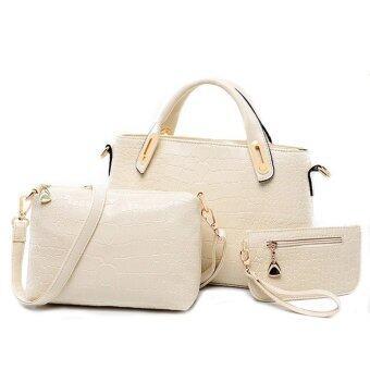 Richcoco SET กระเป๋าแฟชั่นเกาหลี + กระเป๋าถือผู้หญิง + กระเป๋าสะพายข้าง + เซ็ต 3 ใบ (สีเบจ)