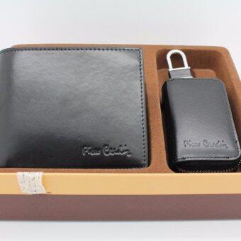 Pierre Cardin กิ๊ฟเซ็ทกระเป๋าธนบัตร+พวงกุญแจ GWC5-1624 สีดำ
